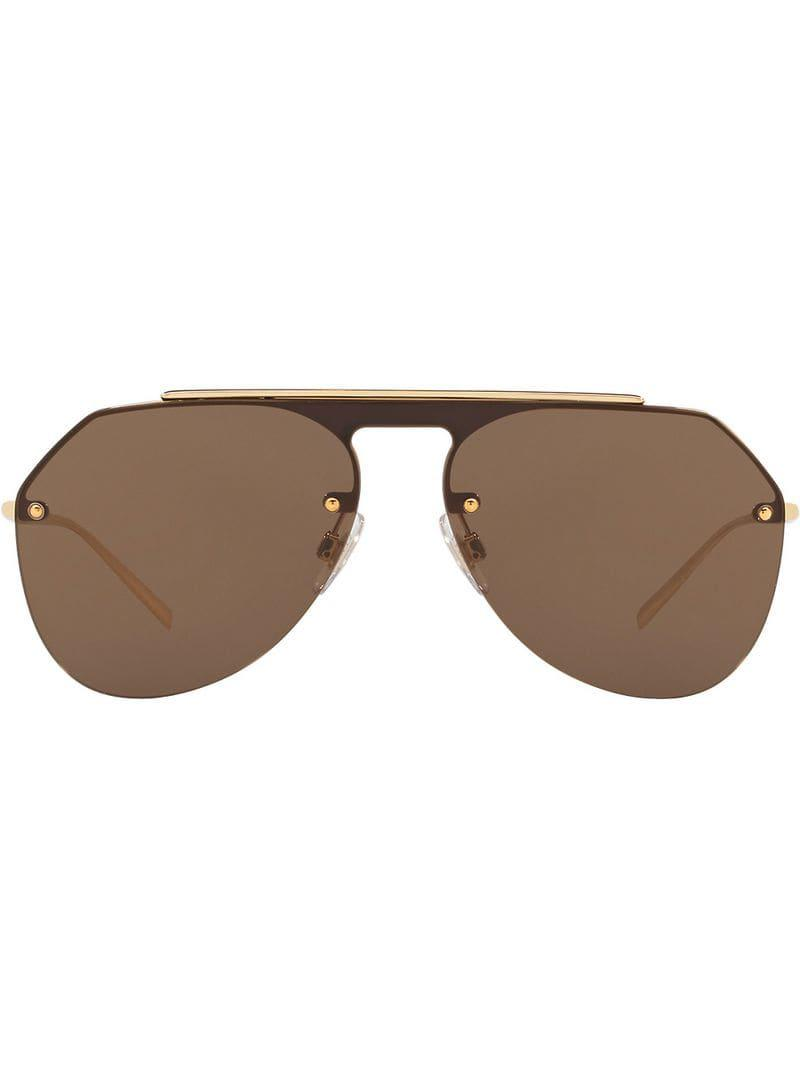 4f5a7067b056 Dolce   Gabbana Aviator Tinted Sunglasses in Brown for Men - Lyst