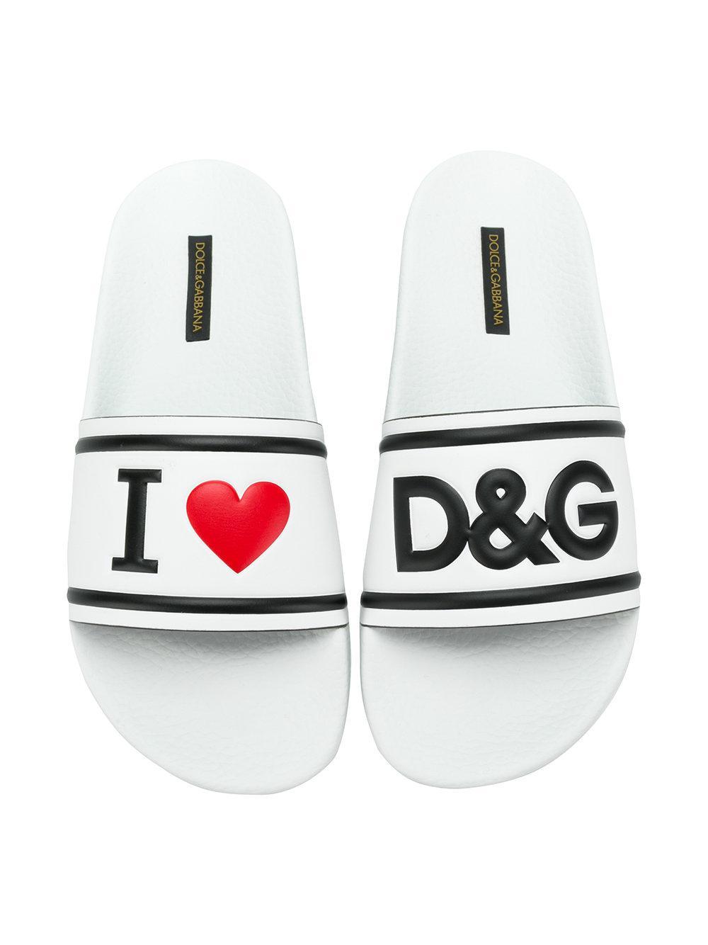 Dolce Amp Gabbana I Heart D Amp G Slides In White Lyst