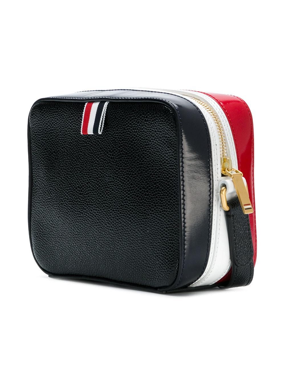 Business Bag Mini (17x13x7,5 Cm) With Cross Body Strap In Pebble Lucido Leather & Calf Leather - Black Thom Browne
