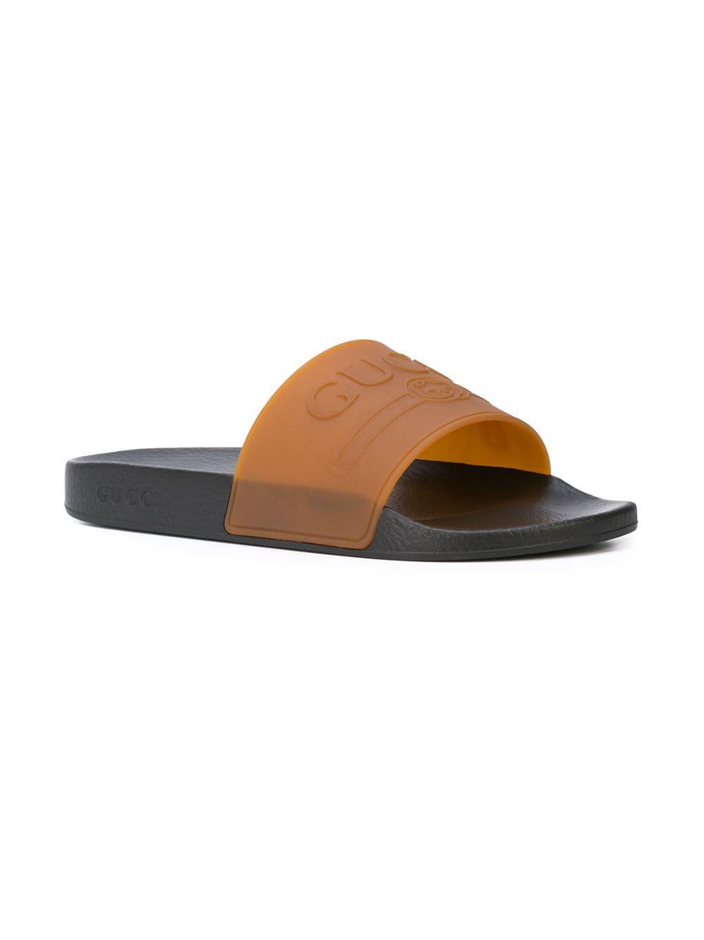 b3f02915034 Lyst - Gucci Logo Slides in Brown for Men