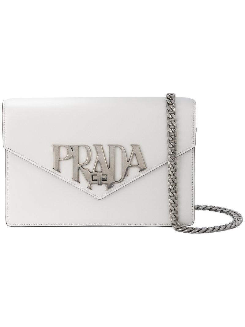 47dc4f006c1cd2 Prada Logo Plaque Shoulder Bag in White - Lyst