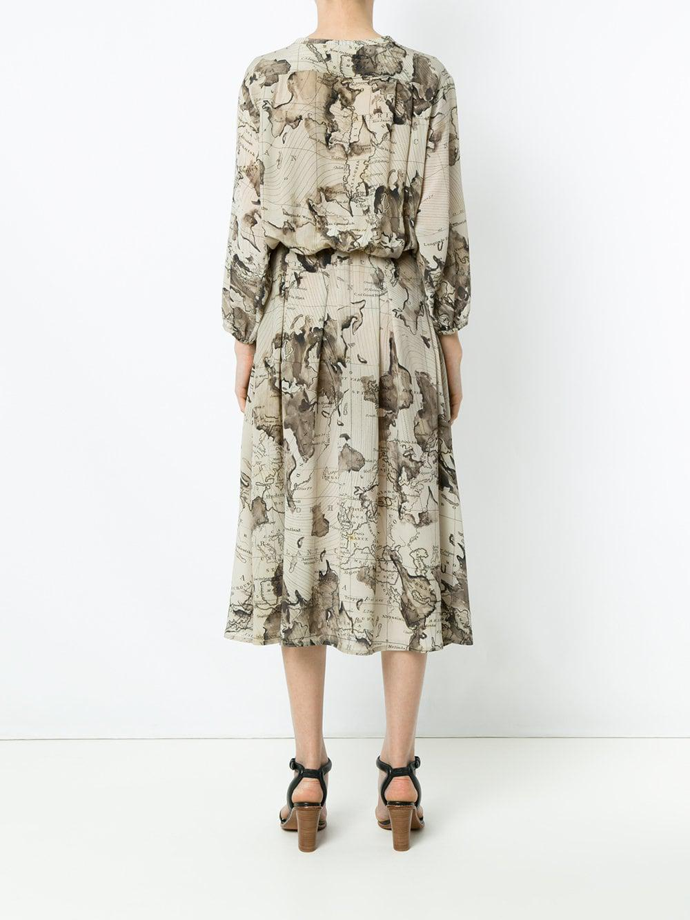 Maps Print Midi Dress Lyst View Fullscreen