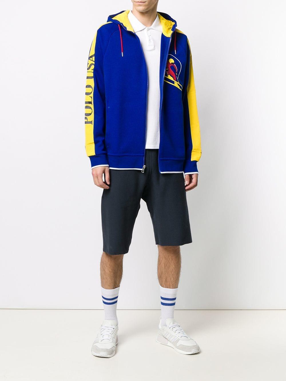 833b4e00f Polo Ralph Lauren Contrast Stripe Zip Hoodie in Blue for Men - Lyst