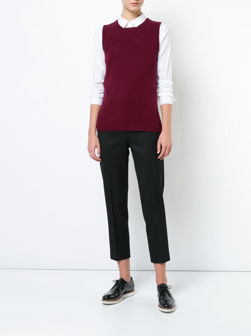 Sofia cashmere Crew Neck Sweater Vest in Purple | Lyst
