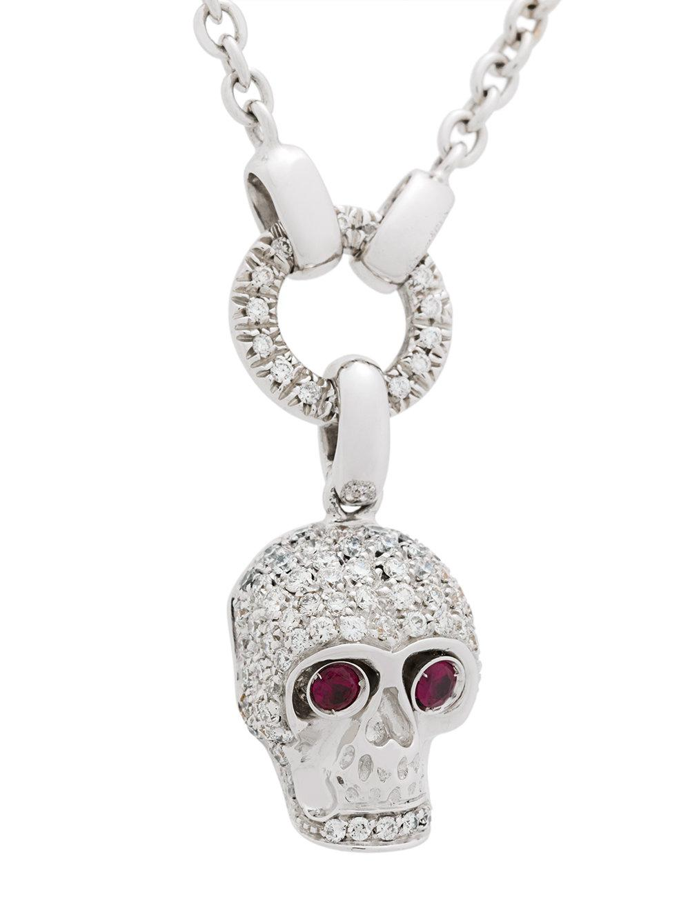 Gavello 18kt white gold diamond and ruby skull necklace - Metallic Jh3fhZK