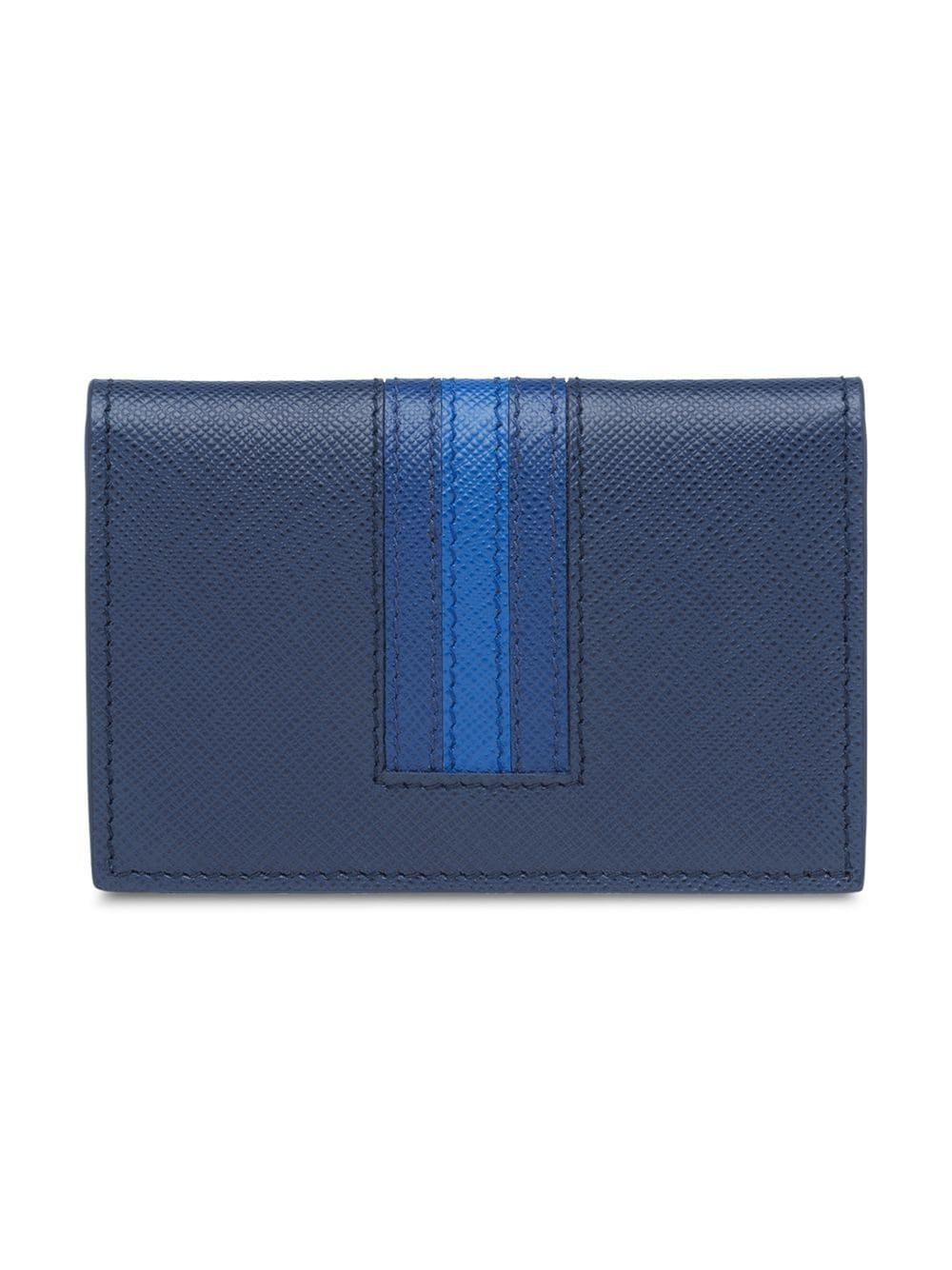 cf336ad6f44f64 Prada Saffiano Leather Card Holder in Blue for Men - Lyst