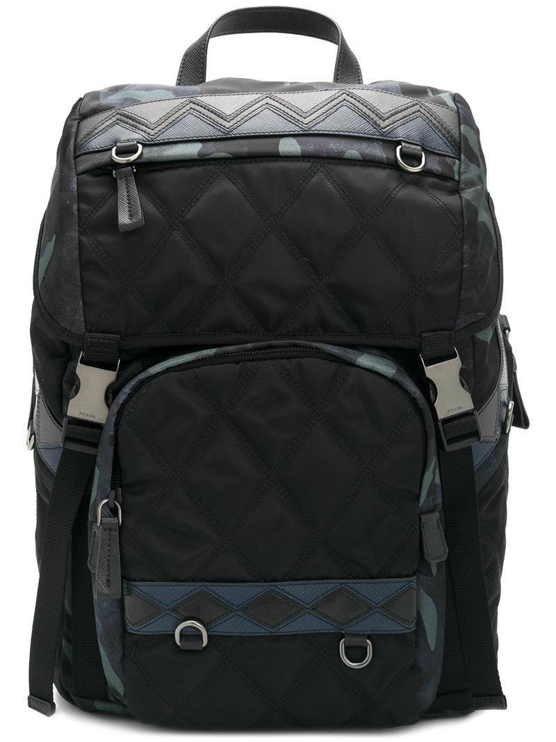 Prada - Black Quilted Backpack for Men - Lyst. View fullscreen a5d5a738ec