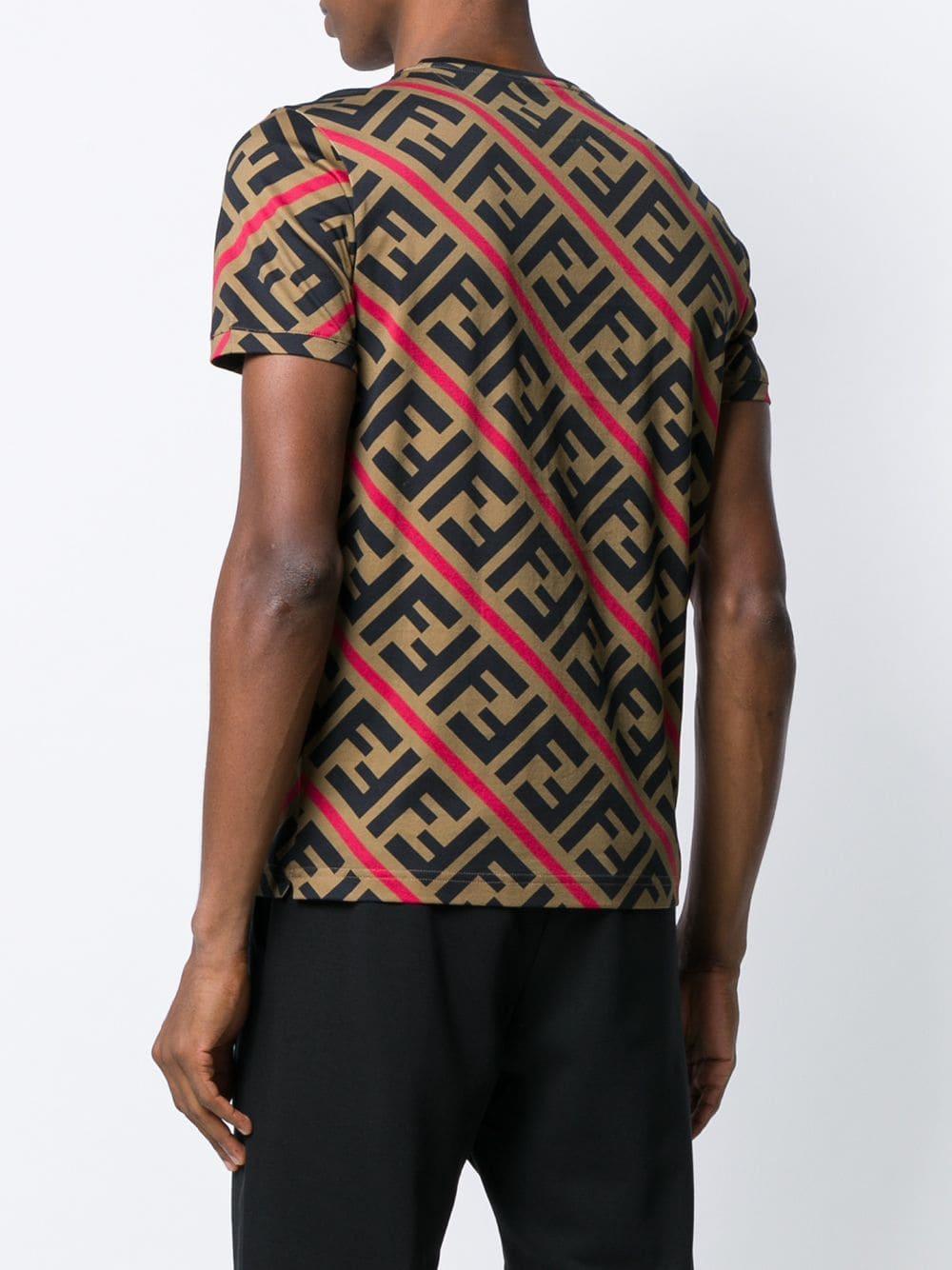 98d4e8d4ae201e Fendi - Brown Printed Ff Logo T-shirt for Men - Lyst. View fullscreen