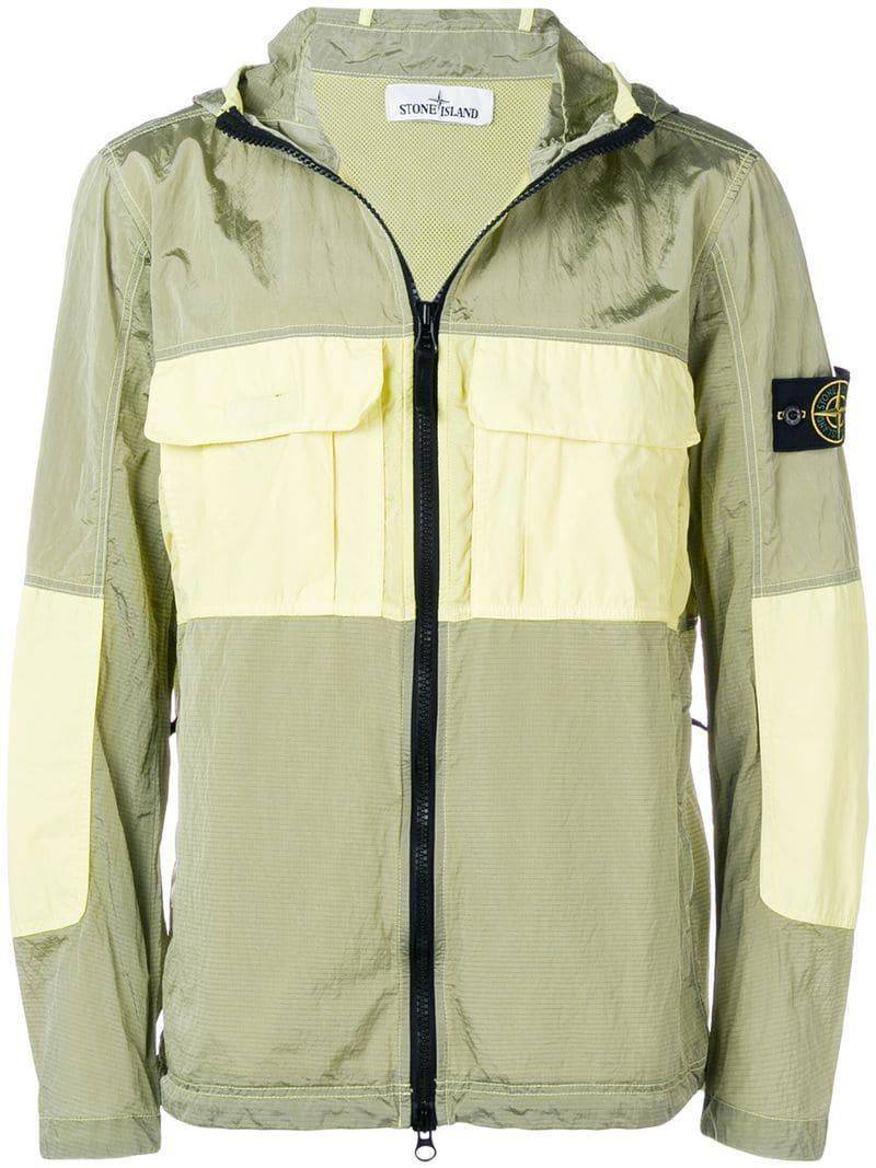 f1c5b64bd Stone Island Colour-blocked Hooded Jacket in Green for Men - Lyst