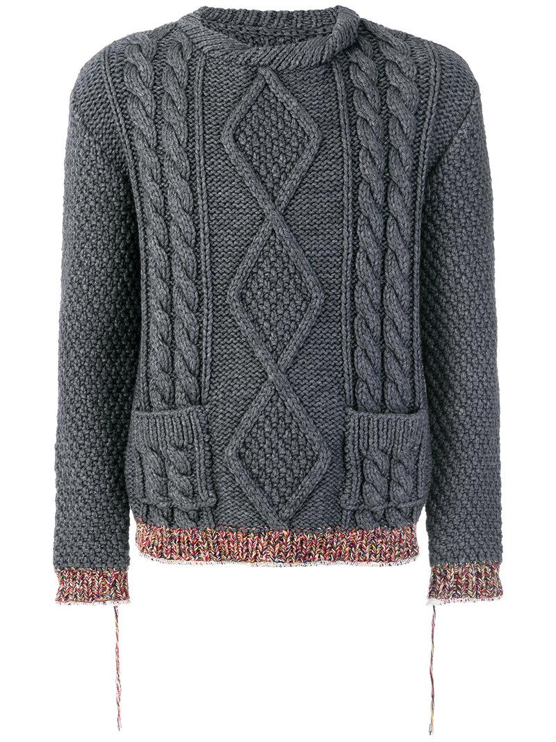 Maison Margiela. Men's Gray Contrast Cuff Cable Knit Sweater