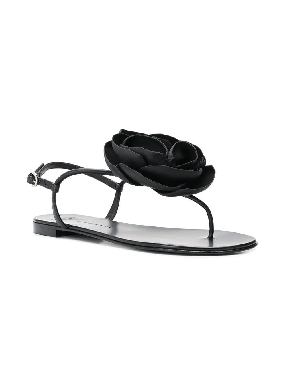 9ceaf8939523 Lyst - Giuseppe Zanotti Flower Flat Sandals in Black - Save 33%