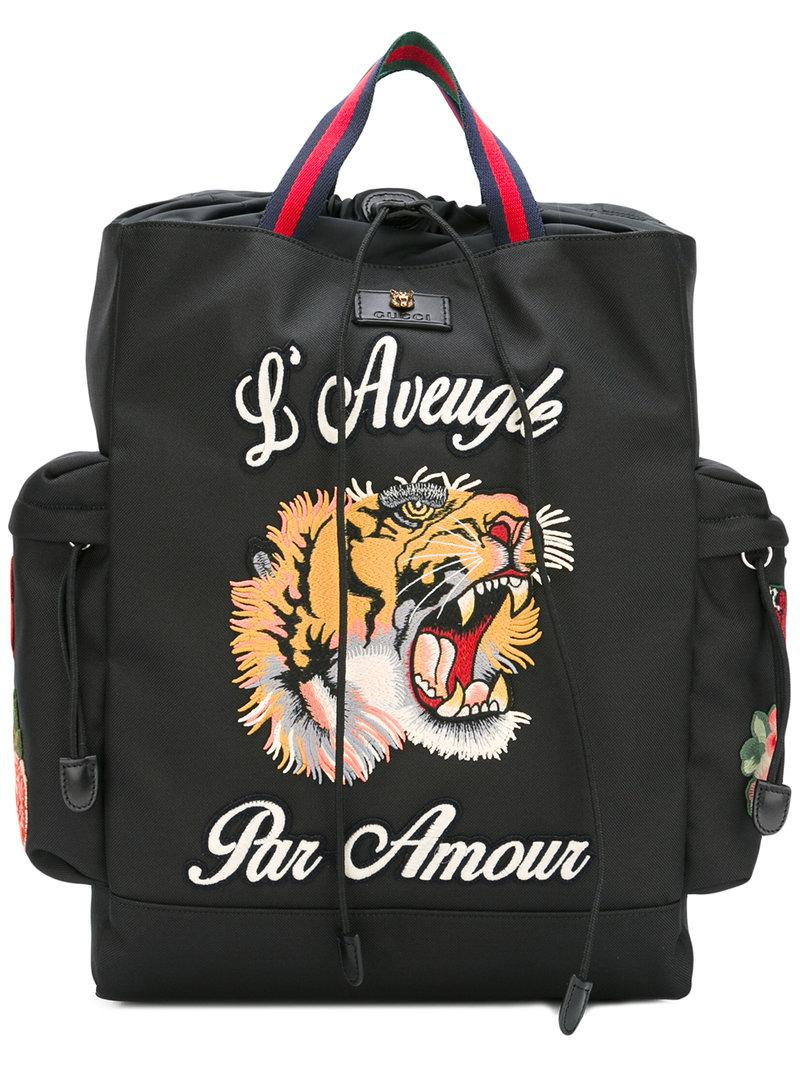 Lyst - Gucci L aveugle Par Amour Backpack in Black for Men d6a0a434263f2