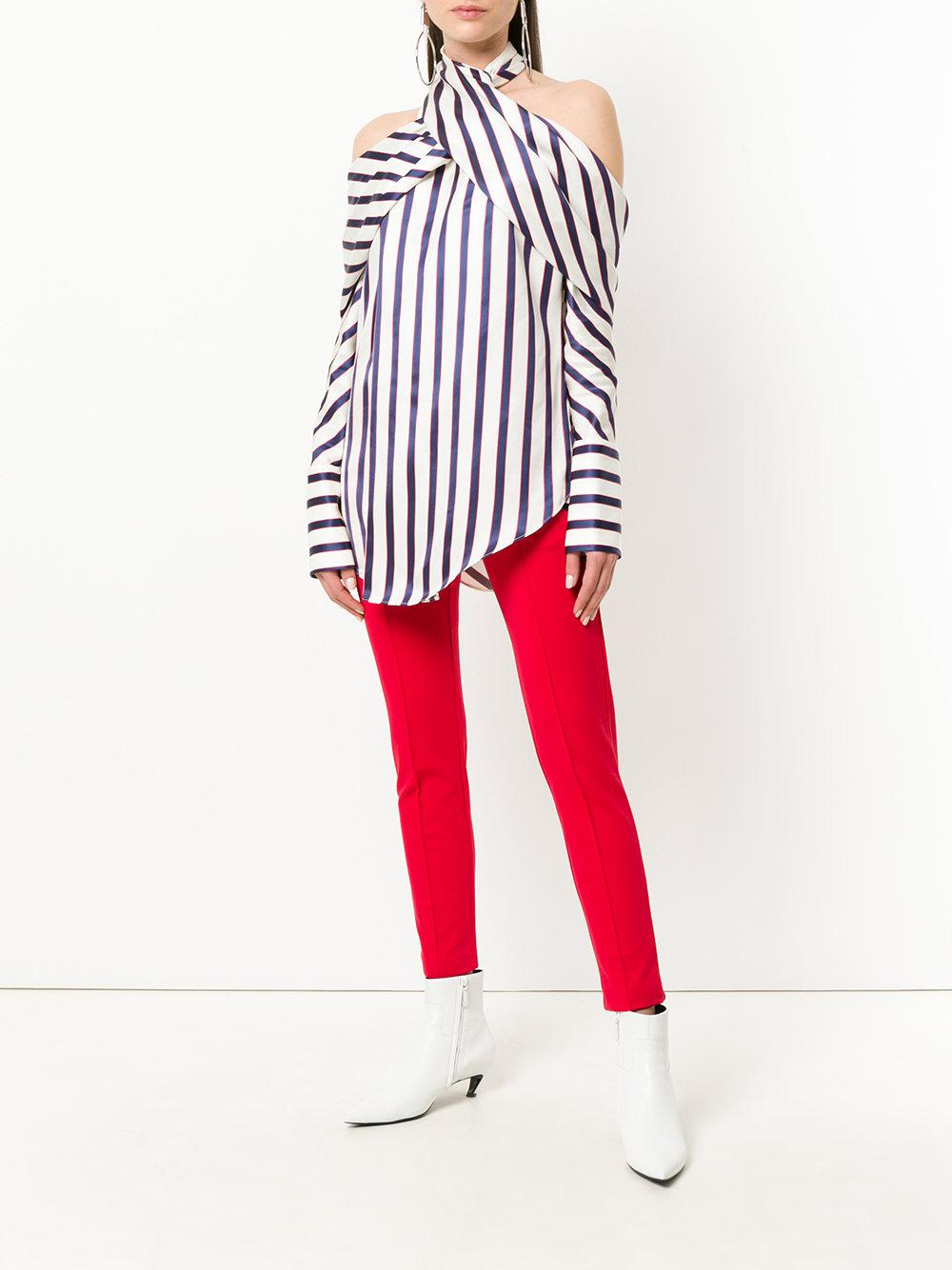 0dd0fb239271bc Monse Striped Cold Shoulder Blouse in Blue - Lyst