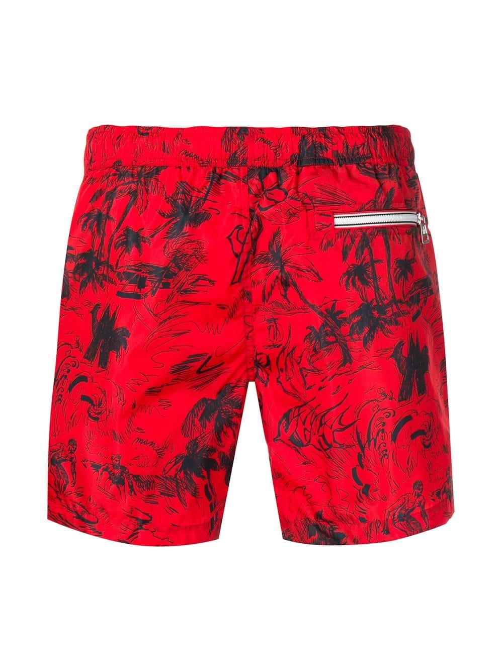 3c92a58aa Moncler Scribble Tropical Print Swim Shorts in Red for Men - Lyst