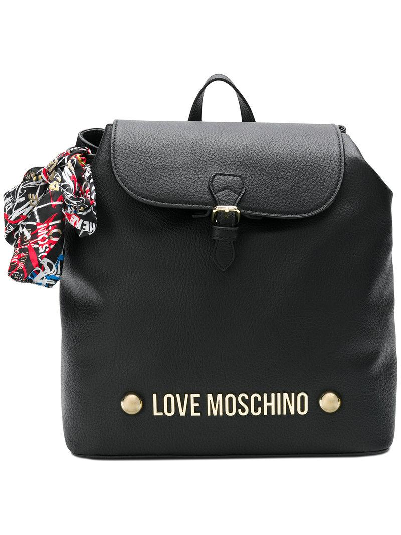 Authentic Love Moschino branded scarf backpack Latest Discount Sale New Footlocker Cheap Online kd4pD