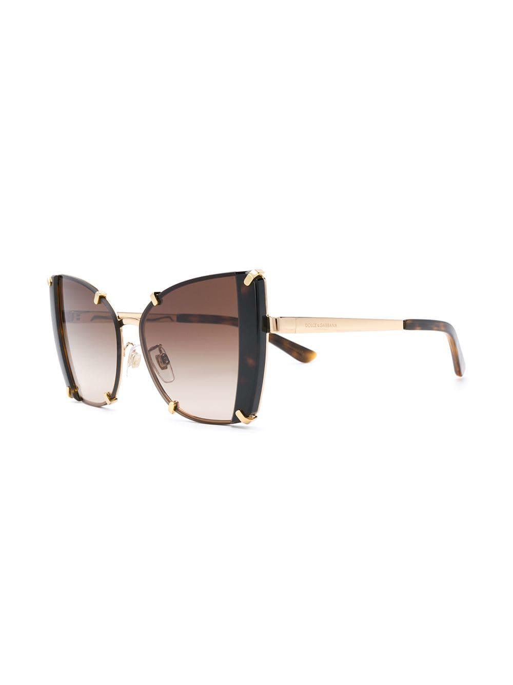 0a31c9da4e3 Lyst - Dolce   Gabbana Oversized Cat Eye Sunglasses in Brown
