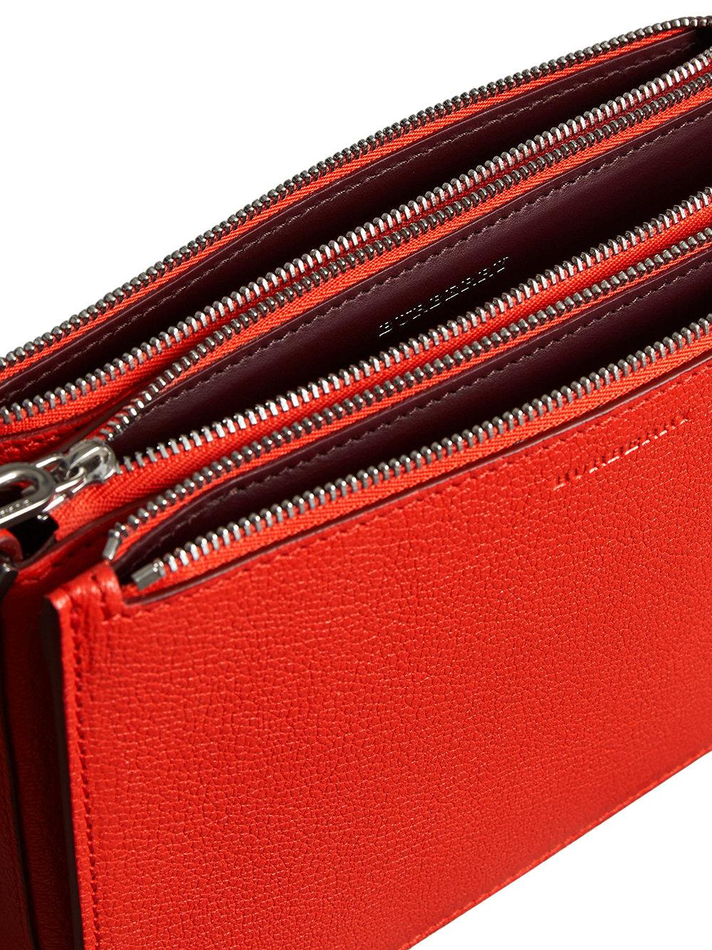 d0593f3dc7c7 Lyst - Burberry Triple Zip Grainy Leather Crossbody Bag in Red