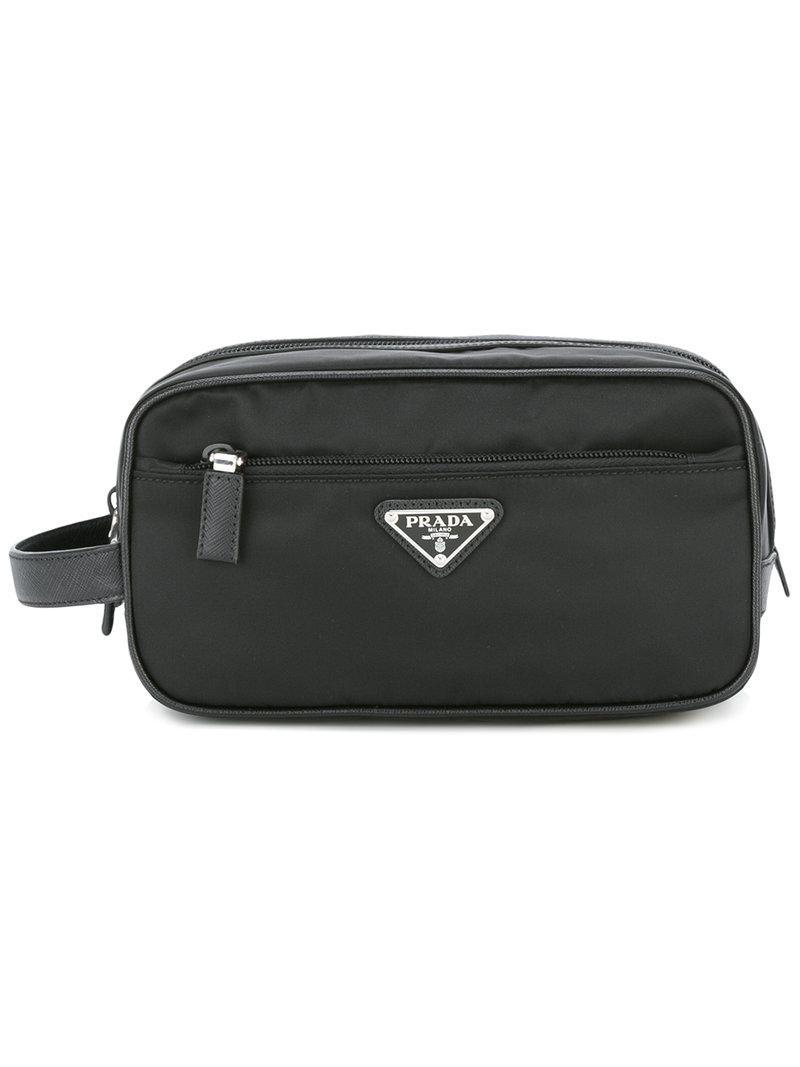 bf47452044c Prada - Black Logo Plaque Wash Bag for Men - Lyst. View fullscreen