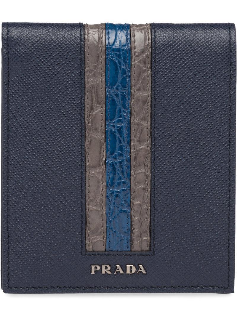 426854f6135d ... australia prada blue saffiano foldover wallet for men lyst. view  fullscreen ce5af 85bd3 inexpensive ...