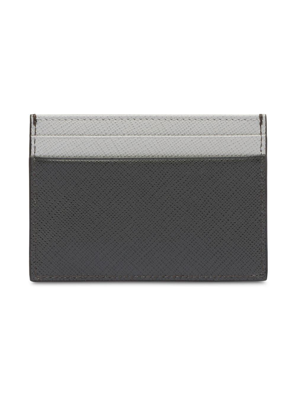 cd59e4a5d35be Lyst - Prada Saffiano Leather Card Holder in Gray for Men