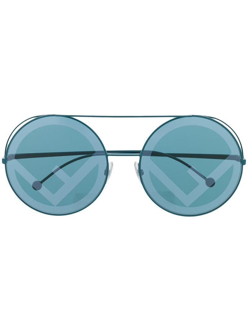 07d94af054 Fendi Round Shaped Sunglasses in Blue - Lyst