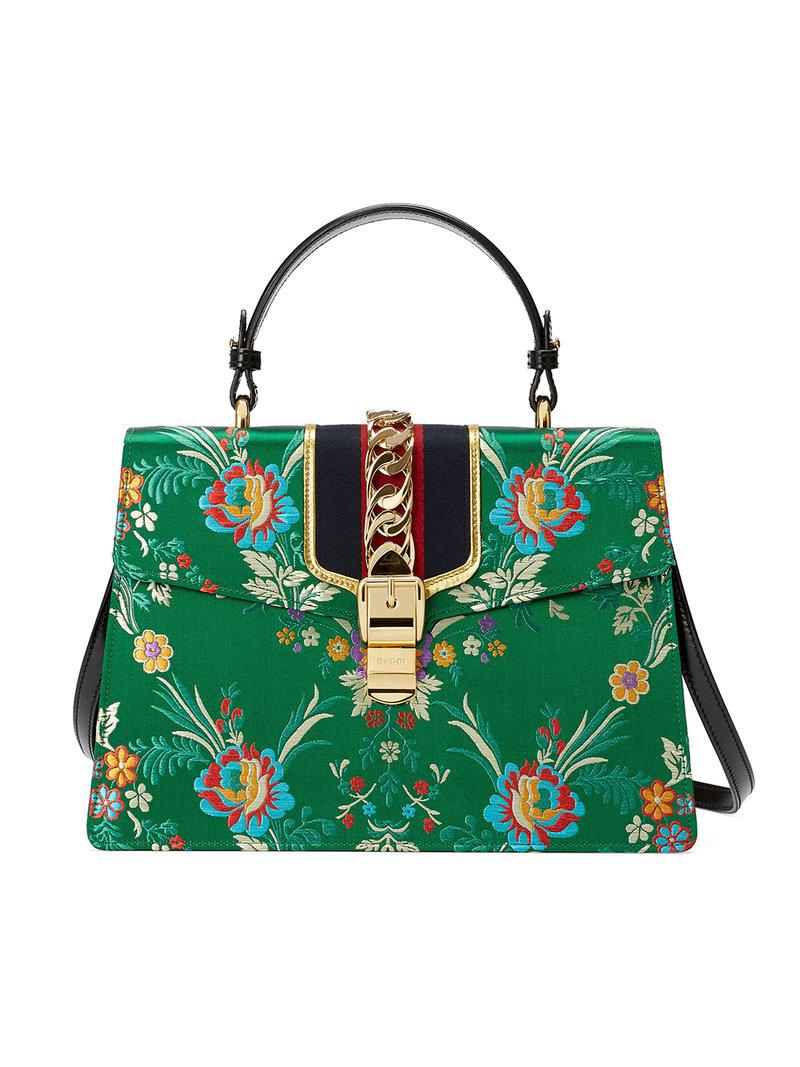 e39df811cb2 Gucci Sylvie Floral Jacquard Top Handle Bag in Green - Save ...