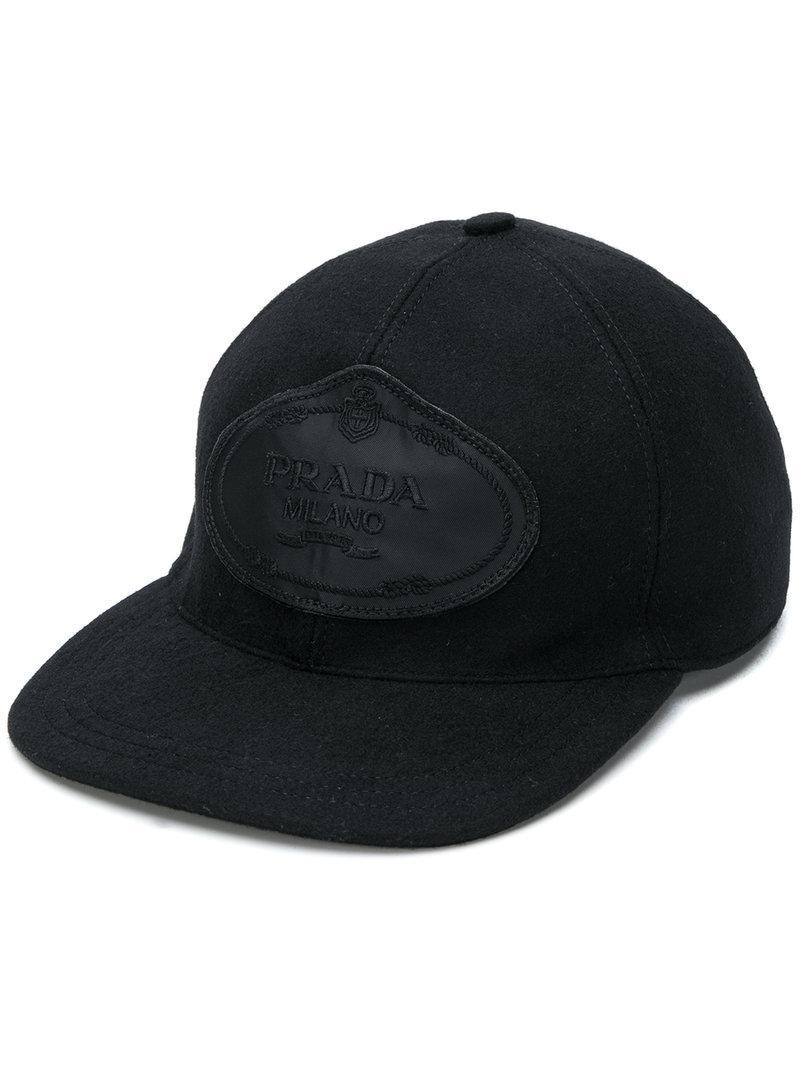 9594f8db27f Prada Baseball Hat in Black for Men - Save 1.7467248908296966% - Lyst