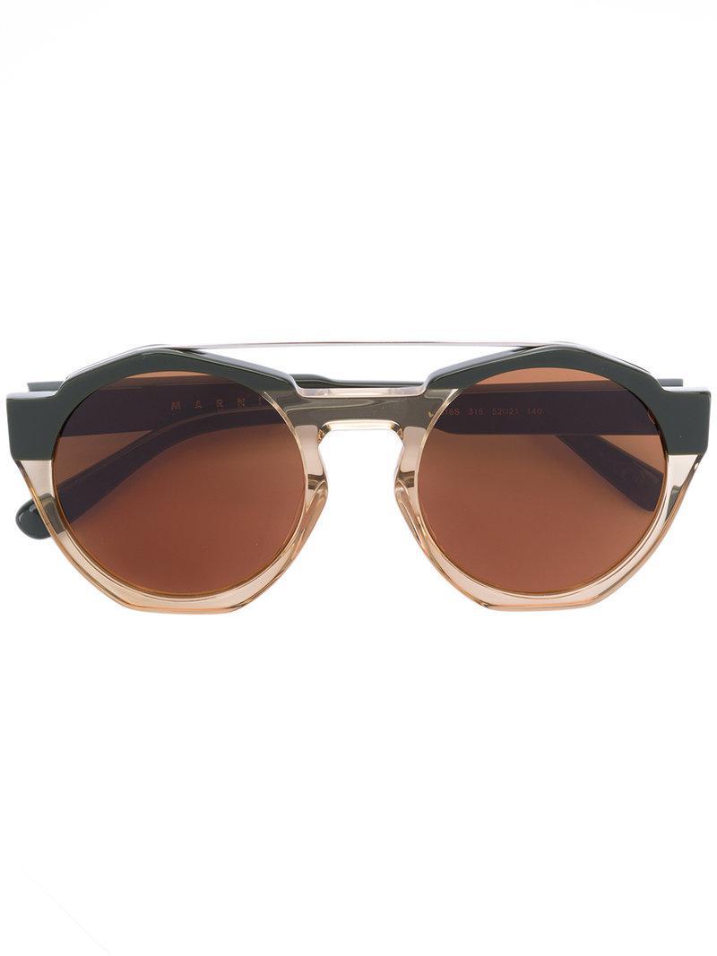 883c1890dc3 Marni Eyewear Marni Driver Round Sunglasses in Green - Lyst