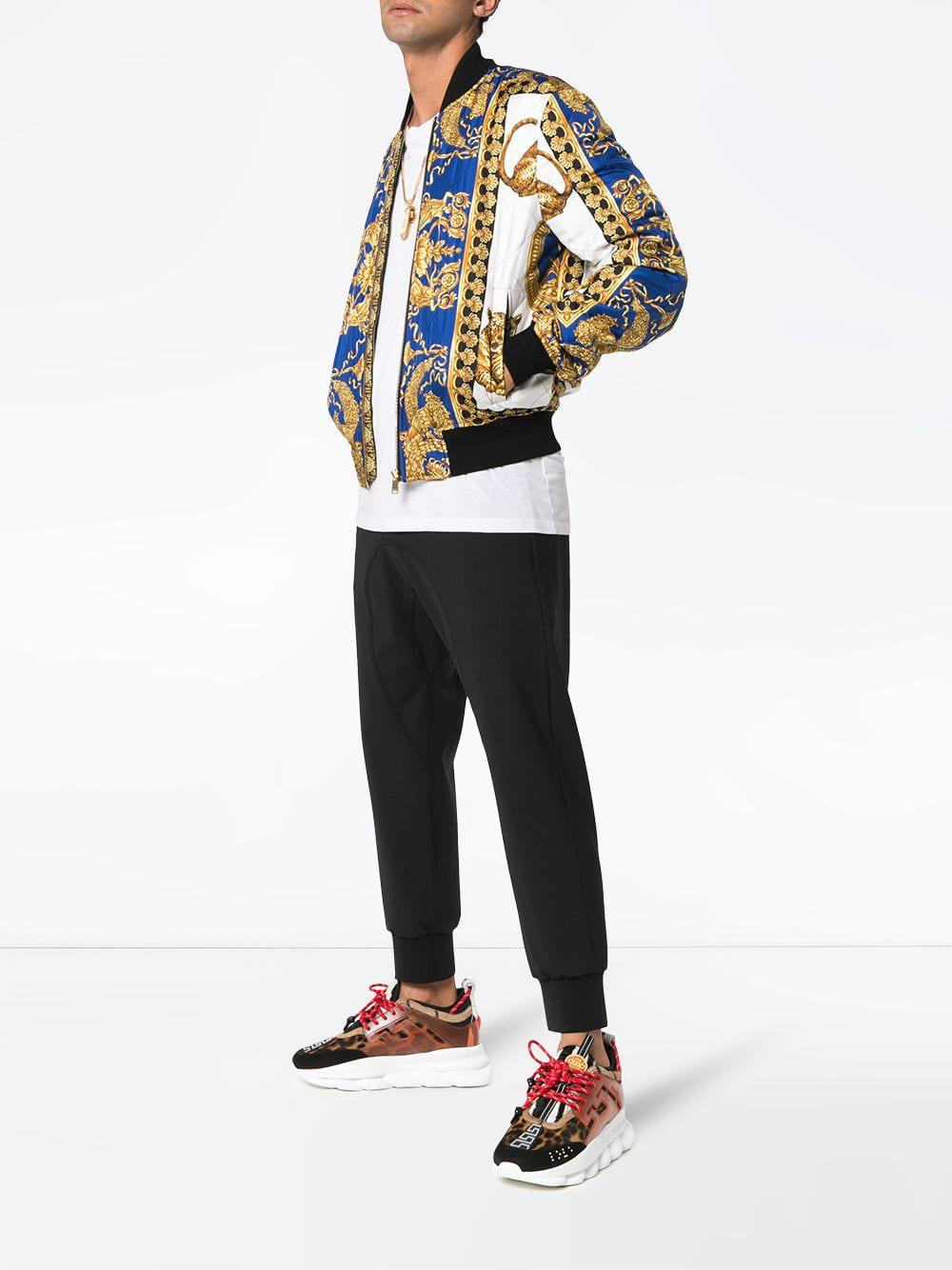 Lyst Versace Barocco Print Bomber Jacket In Blue For Men