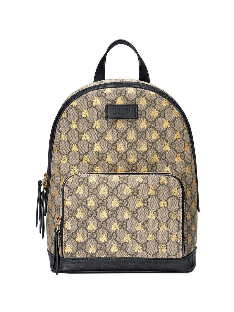 a7cf3eca875 Gucci - Black GG Supreme Bees Backpack - Lyst. View fullscreen