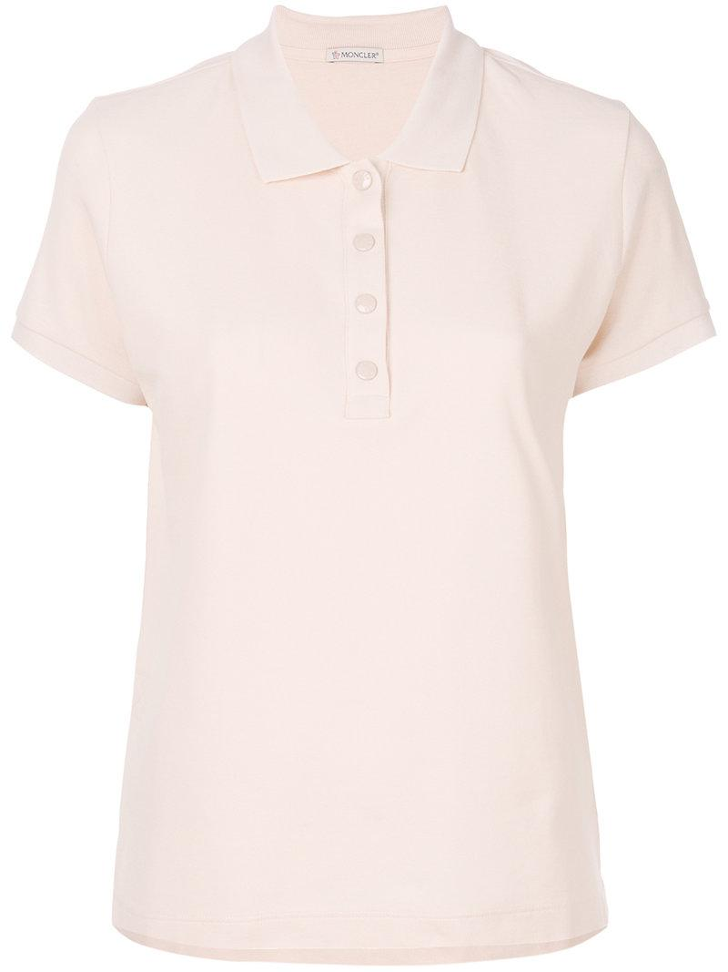 2ab74f1cc Moncler Cropped Polo Shirt in Pink - Lyst