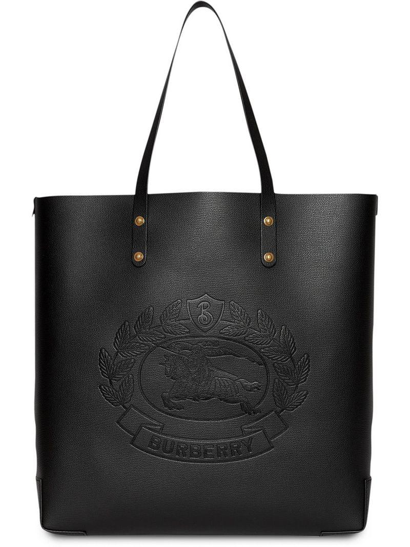 7d0300c05708 Burberry Embossed Crest Leather Tote in Black - Save 11% - Lyst