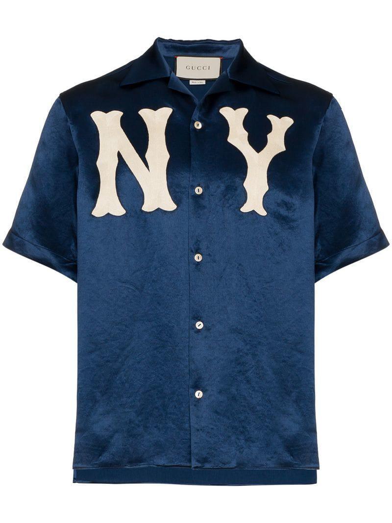 Gucci - Blue Camisa bowling con parche NY Yankees for Men - Lyst. Ver en  pantalla completa 281930ec3fd