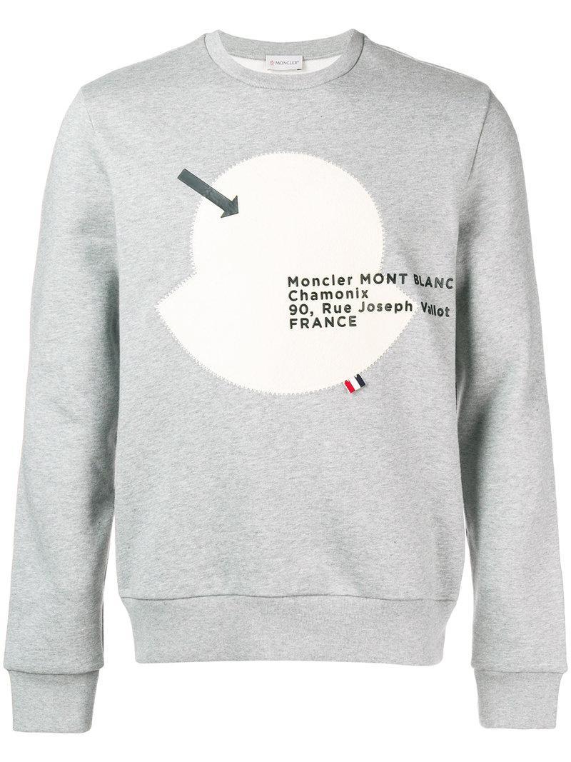 1a7402b8181e Lyst - Sweat à appliqué et logo Moncler pour homme en coloris Gris