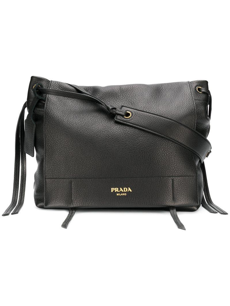 7f1217cb2a88 ... clearance prada. womens black front flap shoulder bag ce2e9 77ada