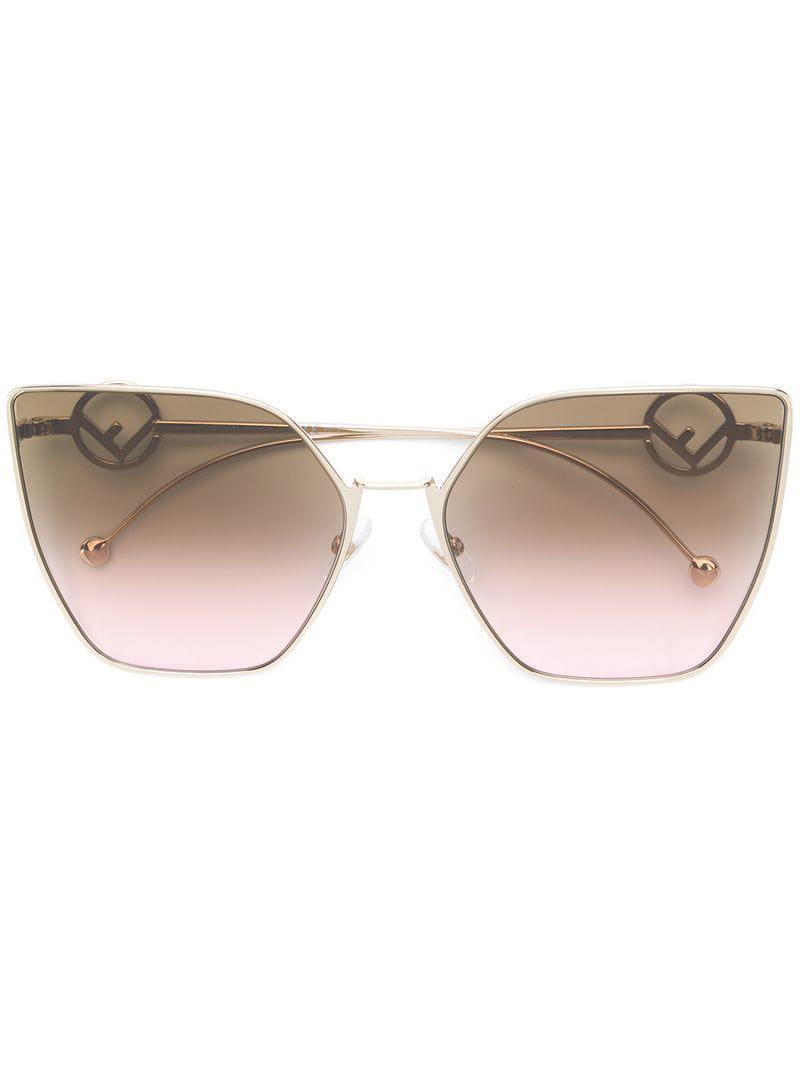 4bc58e94fdfa Fendi Oversized Cat Eye Sunglasses in Metallic - Lyst