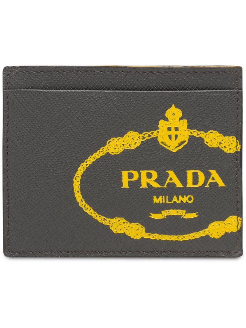 61034929f225 greece prada gray saffiano leather credit card holder for men lyst. view  fullscreen 9671c a3dee