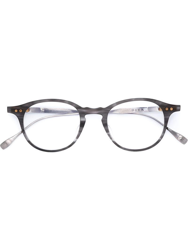 65fa93b2703f Dita Eyewear Round Frame Glasses in Gray - Lyst