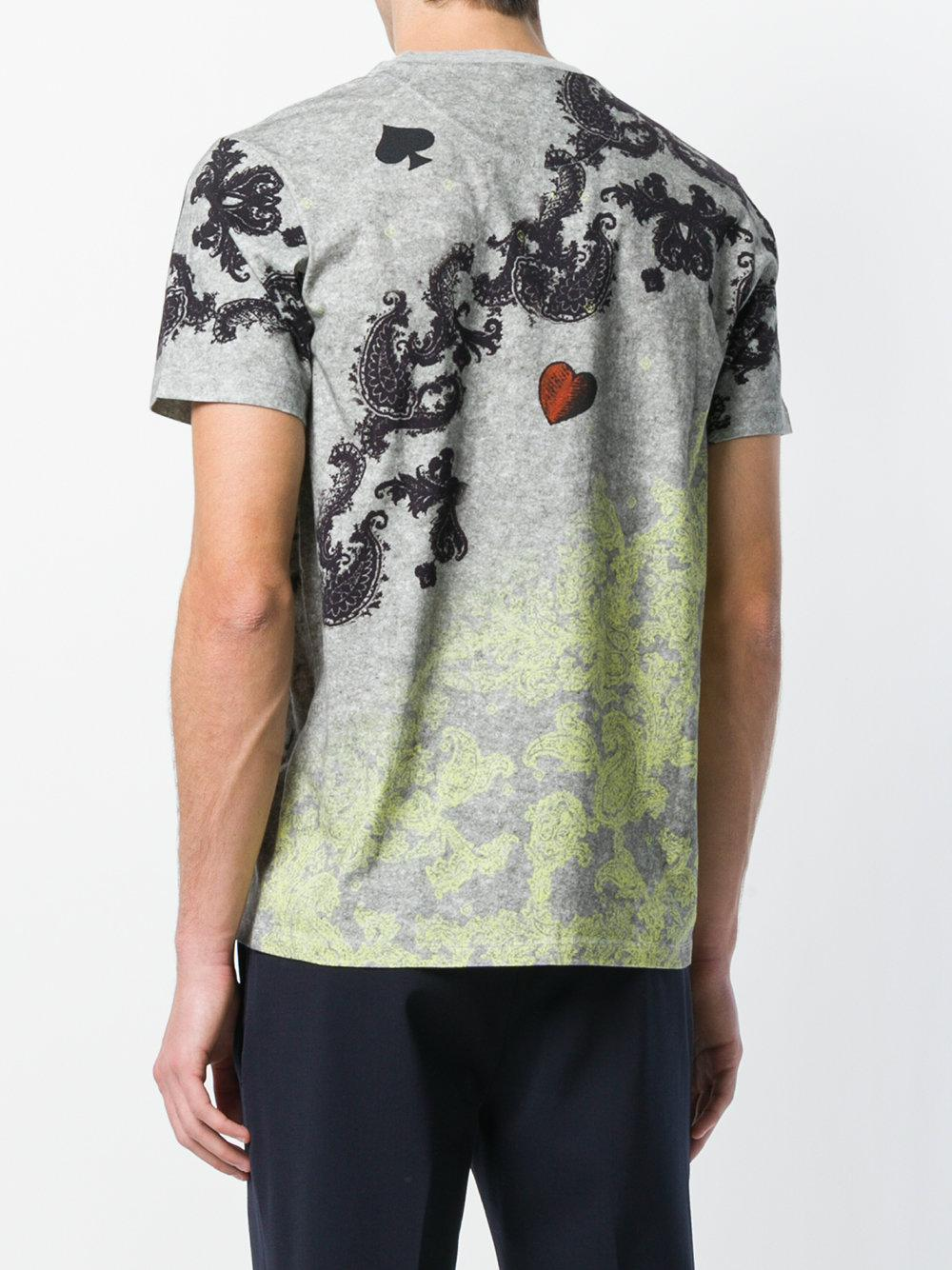 0a9b1dcf7f30 Lyst - Etro Printed Crew Neck T-shirt in Gray for Men