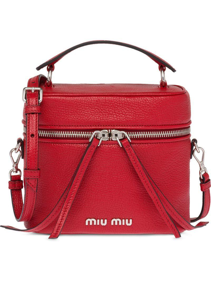 75a06aa4c95b Miu Miu - Red Top Handle Shoulder Bag - Lyst. View fullscreen