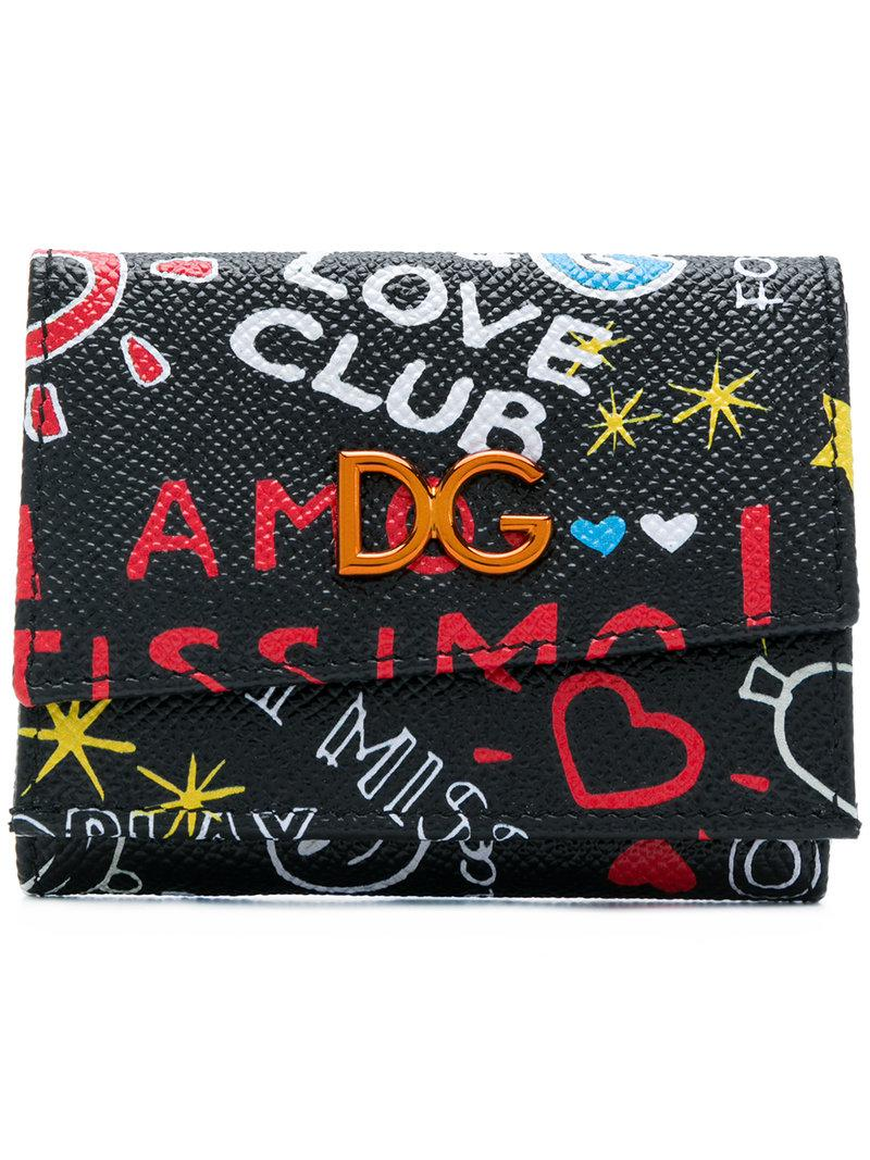 Black Small Graffiti Trifold Wallet Dolce & Gabbana