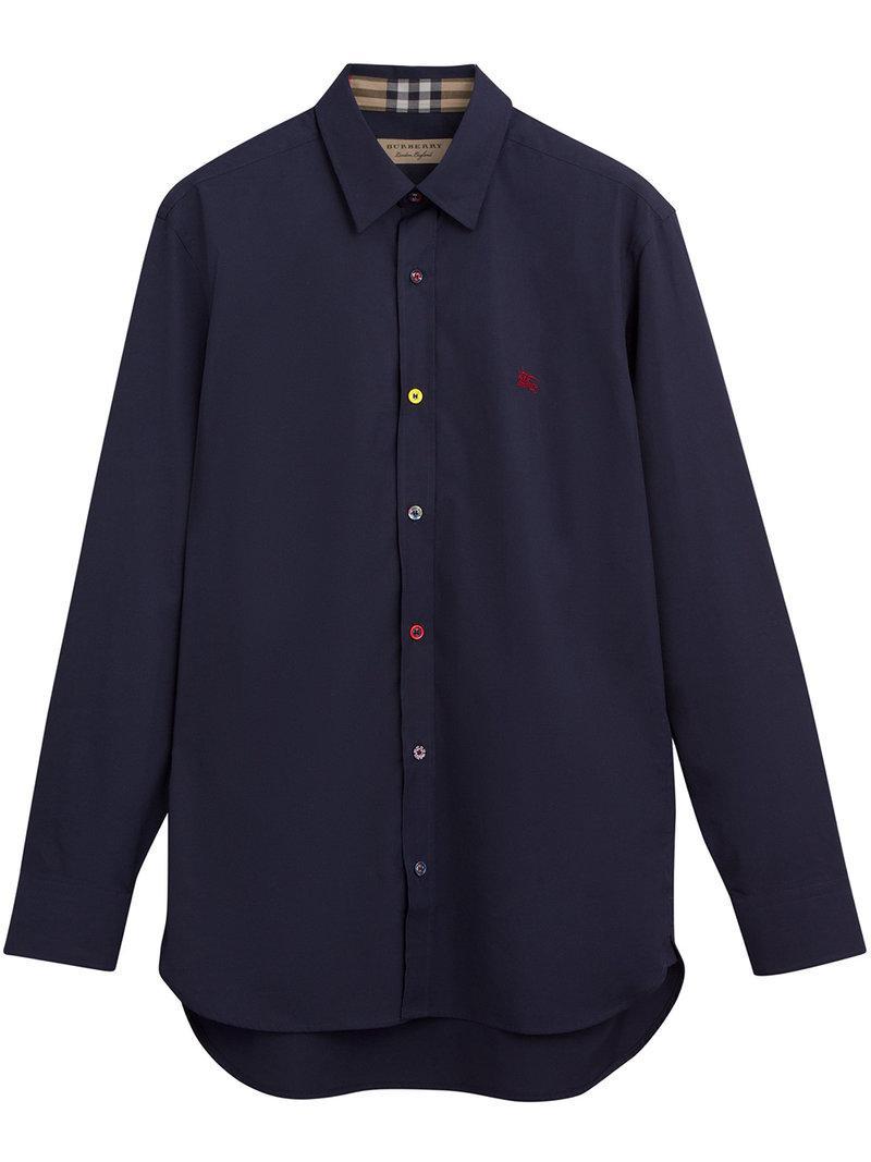 Lyst - Chemise à logo poitrine brodé Burberry pour homme en coloris Bleu 2510a5e0012