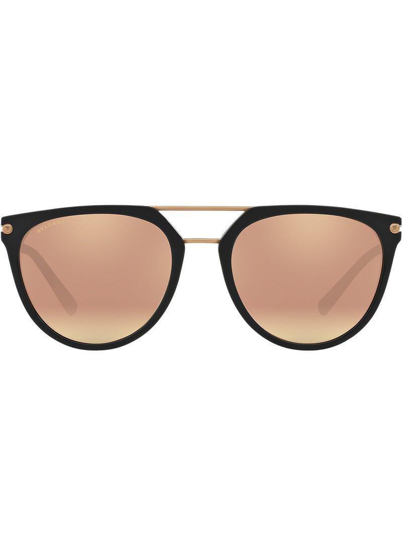e86c28fdb507 Bvlgari Round Aviator Sunglasses in Black for Men - Lyst