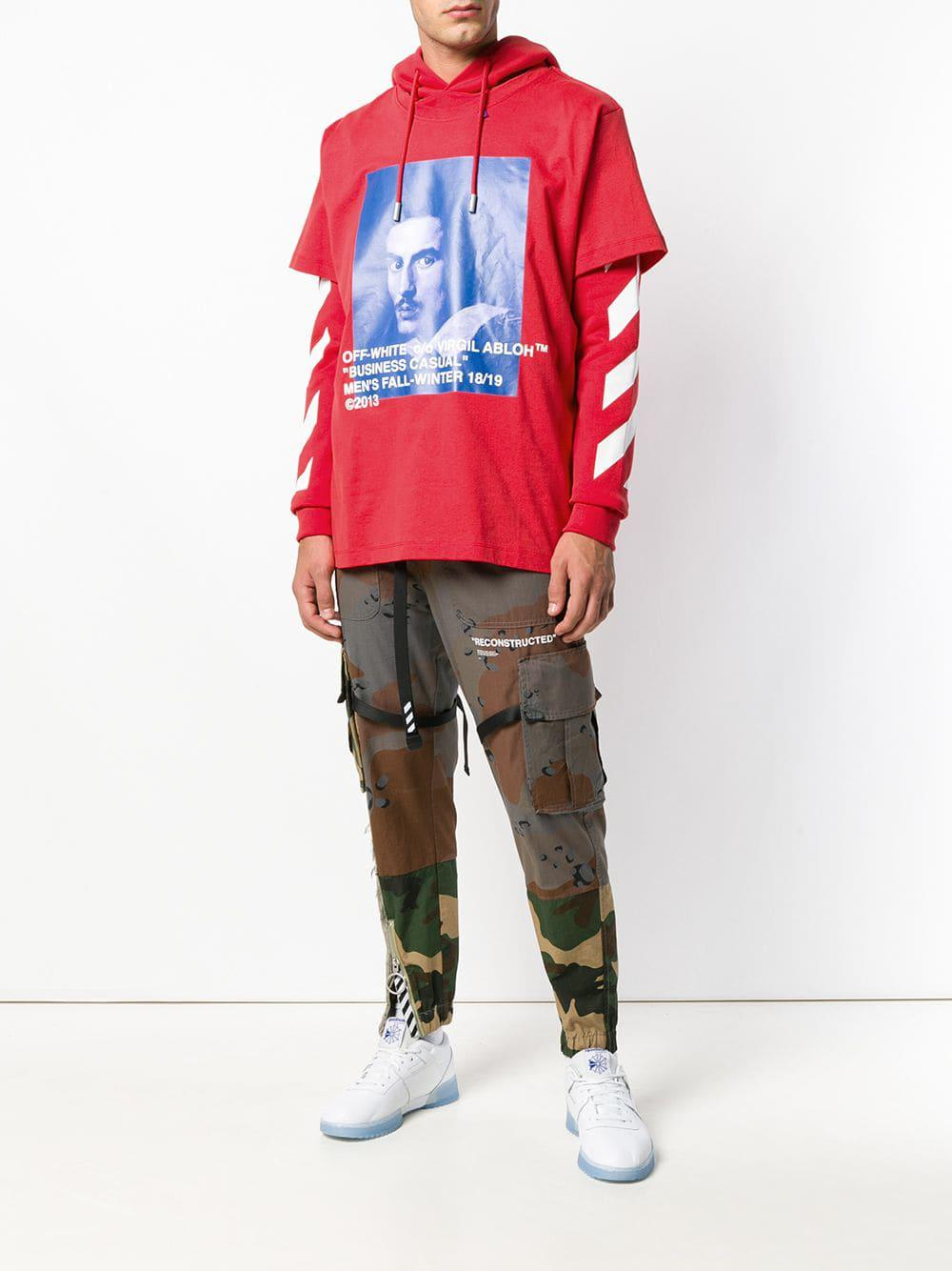 e0f06c0606f6 Lyst - Off-White c o Virgil Abloh Layered Printed Hoodie in Red for Men
