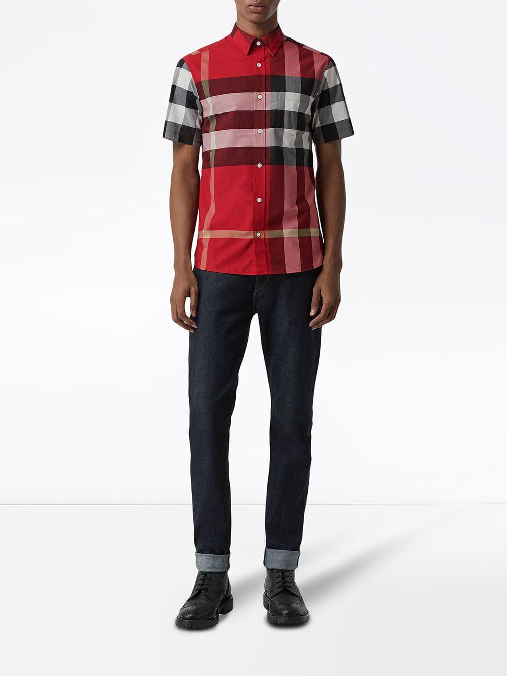 9aeab6a0a1c9 Lyst - Burberry Short-sleeve Check Stretch Cotton Shirt in Red for Men -  Save 17%