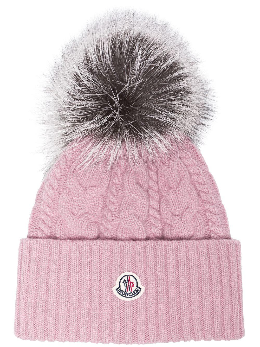 Lyst - Gorro de lana con pompón Moncler de color Rosa bce16286ac9