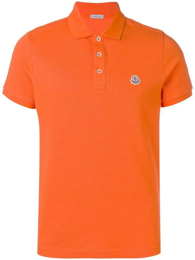 7b848f2d439b Moncler Logo Polo Top in Orange for Men - Save 3% - Lyst
