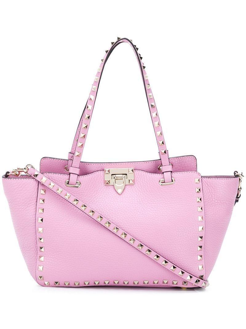 09beb1049a5 Lyst - Valentino Garavani Rockstud Small Tote Bag in Pink