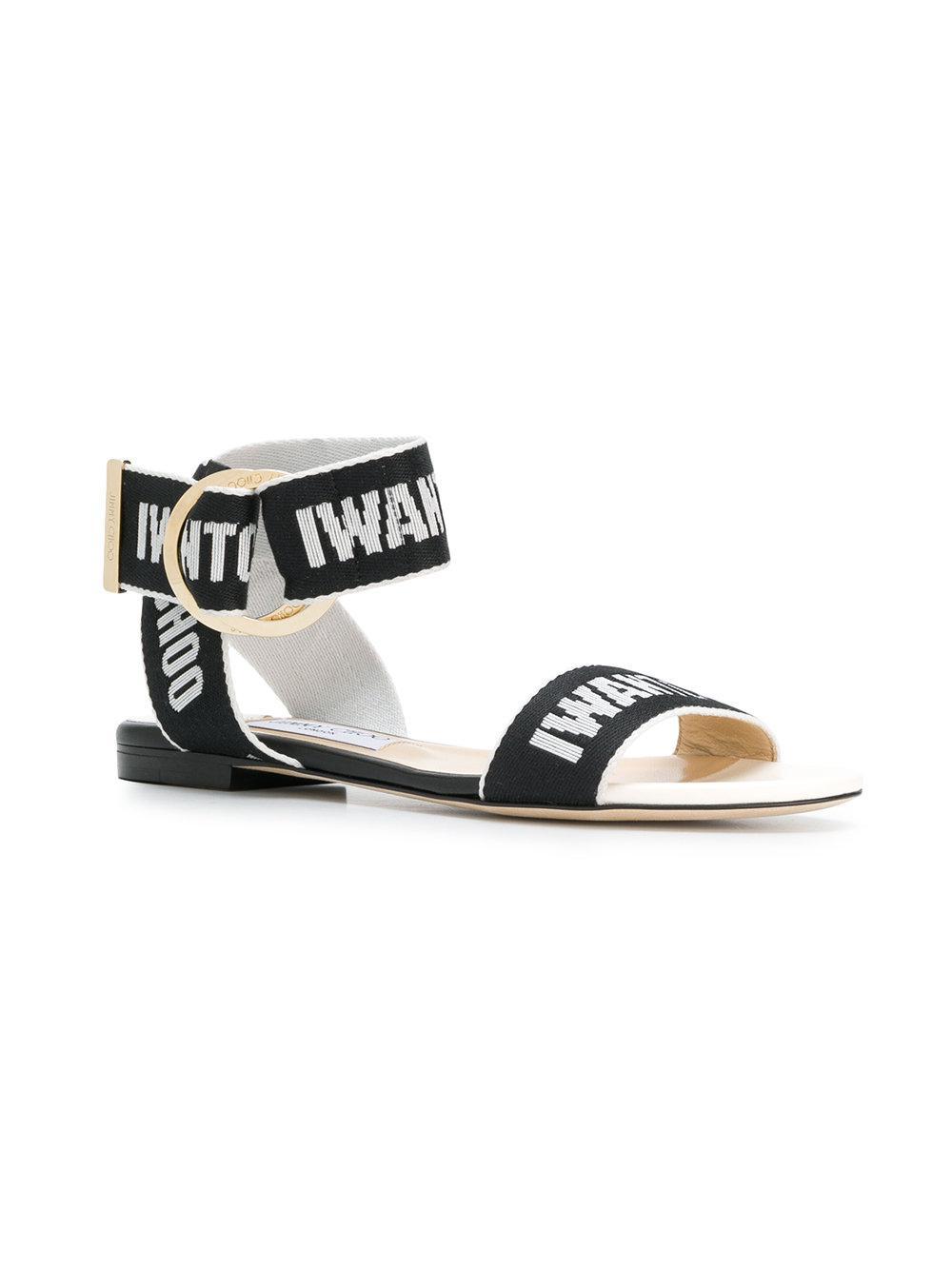 0f95786fe5e4 Lyst - Jimmy Choo Breanne Flat Sandals in Black - Save 60.0%