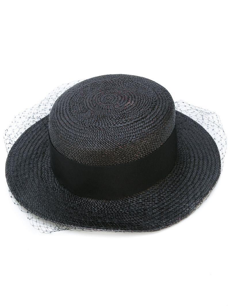 Lyst - Sombrero canotié con ribete de red Federica Moretti de color ... c348e2be6f9